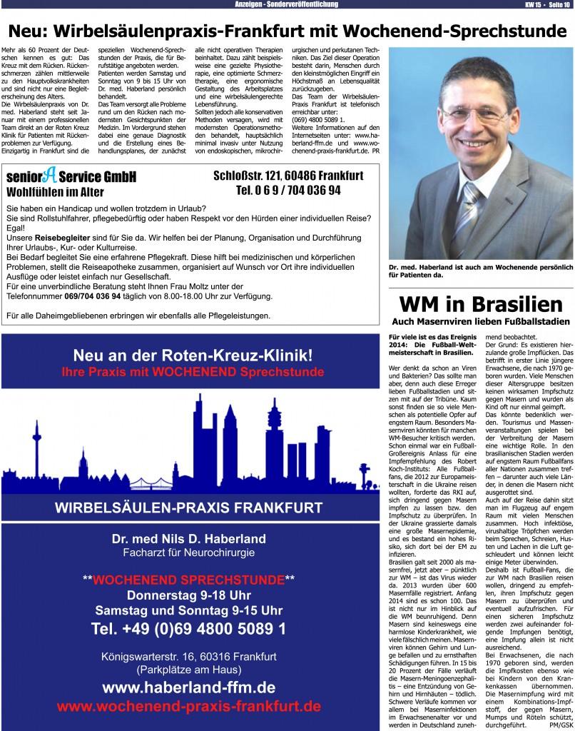 Presseartikel im Stadtkurier zur Wochenend-Sprechstunde